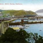 Tiburon & railroad yard, 1909. All the flat land shown is fill for the rail yard. <span>&copy; Anne T. Kent Room </span>