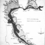 "The potential for bay fill in 2020 that would turn San Francisco Bay into a river and completely fill Richardson Bay. From ""Future Development of the San Francisco Bay Area 1960-2020"" by the U.S. Army Corp of Engineers. <span>&copy; Corps of Engineers </span>"