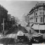 [New Montgomery SF, looking west.] Cable cars on New Montgomery St., now Columbus Ave. Horsecar at right on Montgomery St. OpenSFHistory / wnp71.2038.jpg <span>&copy; SFOpenHistory </span>