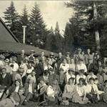 The Sierra Club and the Romany Club at the Summit House on the Bolinas Ridge, 1915. <span>&copy; Anne T. Kent Room </span>