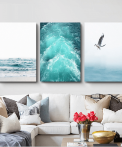 Blue Sea And Sky Nordic Landscape Canvas