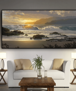 Sunset Beach Landscape Wall Art Canvas