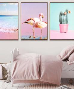 Flamingo Pink Ocean Cactus Nordic Poster