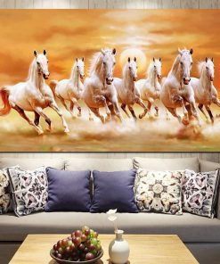 animal poster-seven white horses running