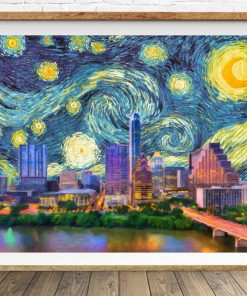 Austin Skyline Poster Van Gogh Starry Night Print Texas Decor Van Gogh Print Wall Art Home Decor #vi1458