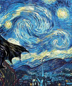 Batman Starry Night Vincent van Gogh Art Print Poster