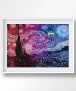 Doctor Who Starry Night Print, Tardis Print, Doctor Who Poster, Doctor Who Wall Art, Vincent van Gogh, Dr Who art, tardis printable, 2046