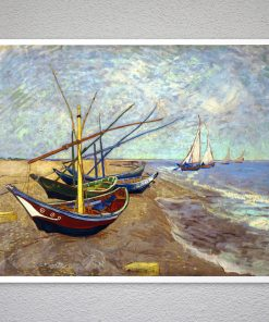 Fishing Boats on the Beach at St-Maries by Vincent Van Gogh - Poster Paper, Sticker or Canvas Print ,Gift Idea