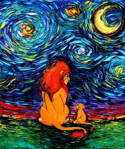 King of Lions Art - Starry Night print van Gogh Never Saw The Sahara by Aja Choose size and type of paper