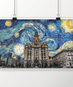 Liverpool Skyline Liver Building Van Gogh Starry Night Oil Art Print on Poster - Landscape - Wall Art - Home Decor - Illustration - Artwork
