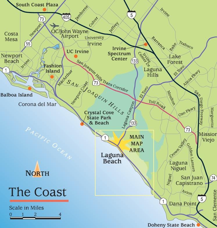 Map Of Laguna Beach Laguna Beach Directions and Maps   Visit Laguna Beach Map Of Laguna Beach