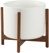 White Mid-Century Ceramic + Wood Stand