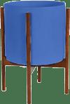 Cobalt Mid-Century Ceramic & Wood Stand