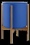 Cobalt Mid-Century Ceramic & Teak Wood Stand
