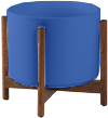 Cobalt Mid-Century Ceramic + Wood Stand