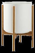 White Mid-Century Ceramic & Teak Wood Stand