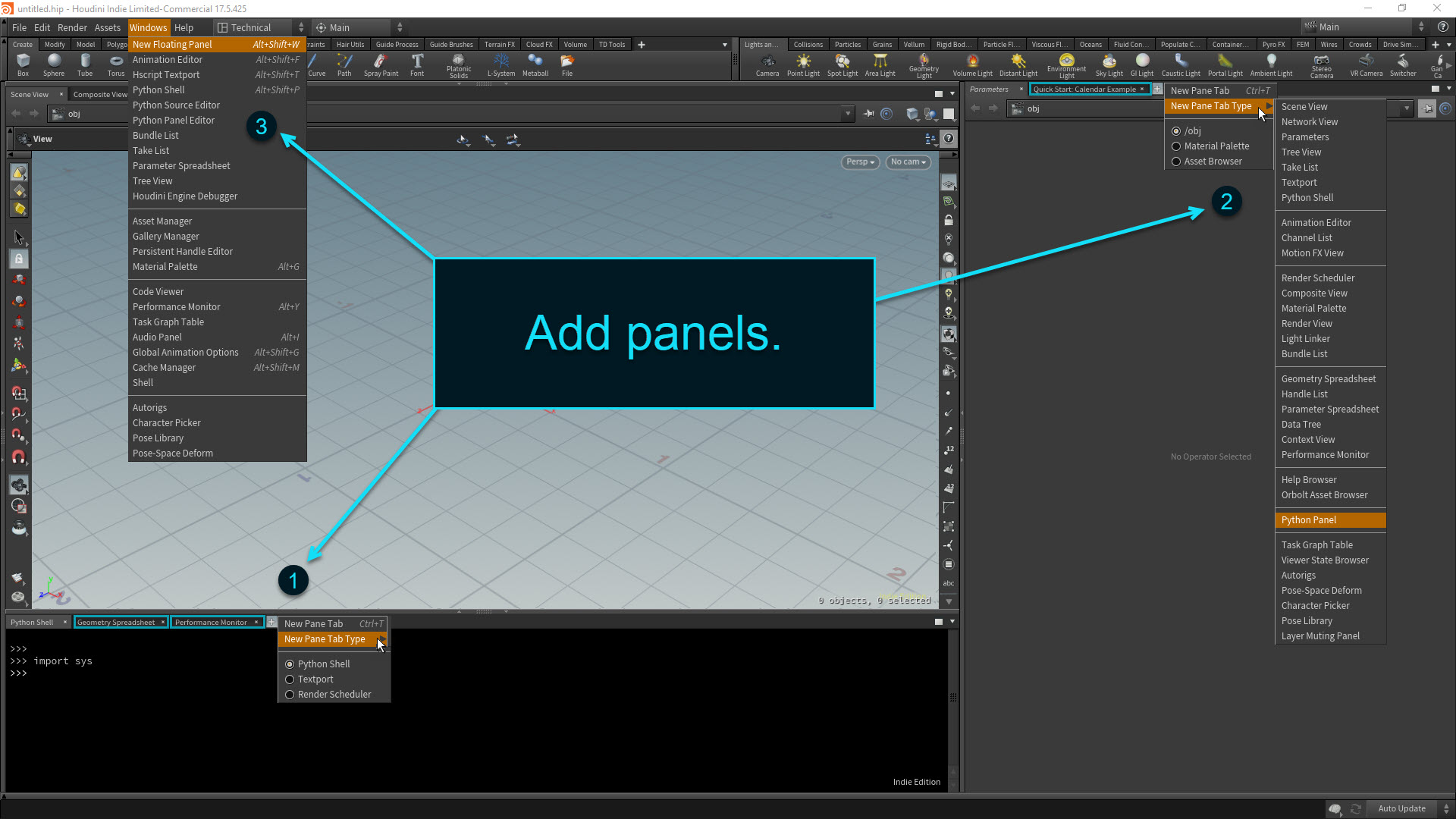 Houdini Desktop Setup - Add panels
