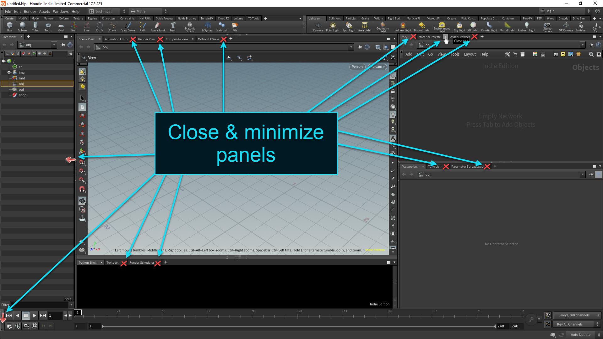 Houdini Desktop Setup - Close panels