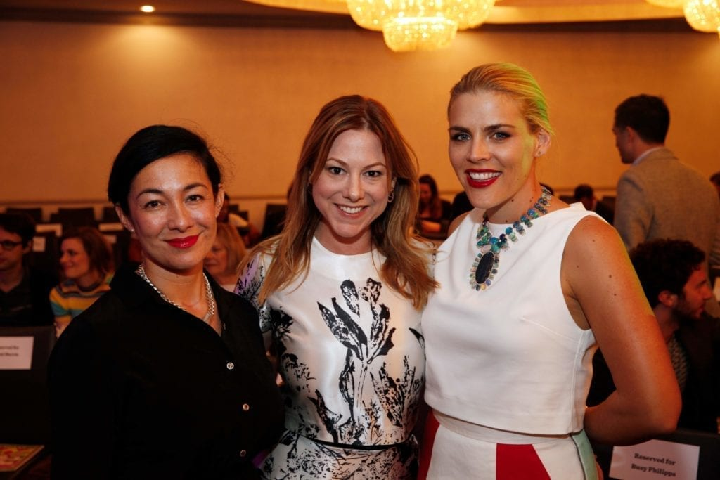Former YL Chair Amanda Fairey, current YL Chair Samantha Hanks, and Annual Toast Host and Honorary Chair Busy Philipps. Photo by Ryan Miller/Capture Imaging.
