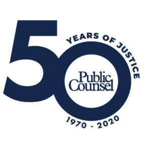 Public Counsel 50 Years Circular SOLID BLUE v1 Logo