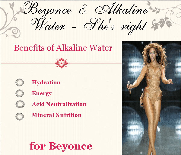 Benefits of alkaline water for Beyonce infographic