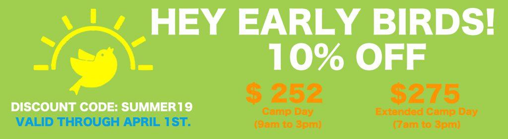 Summer 2019 Early Bird Discount