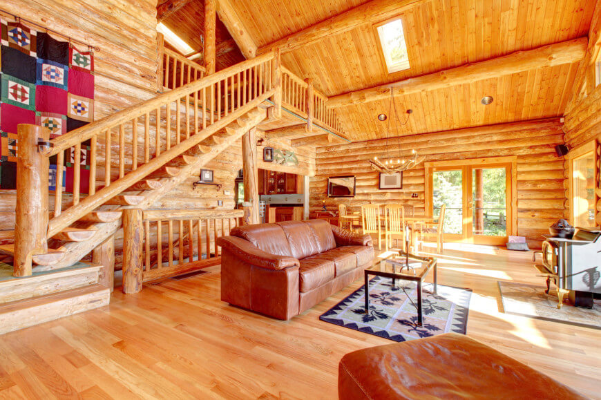 Large luxury log cabin house living room with large staircase.