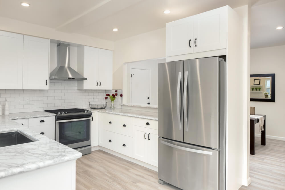 A stainless steel refrigerator is a popular choice for many kitchen remodels.