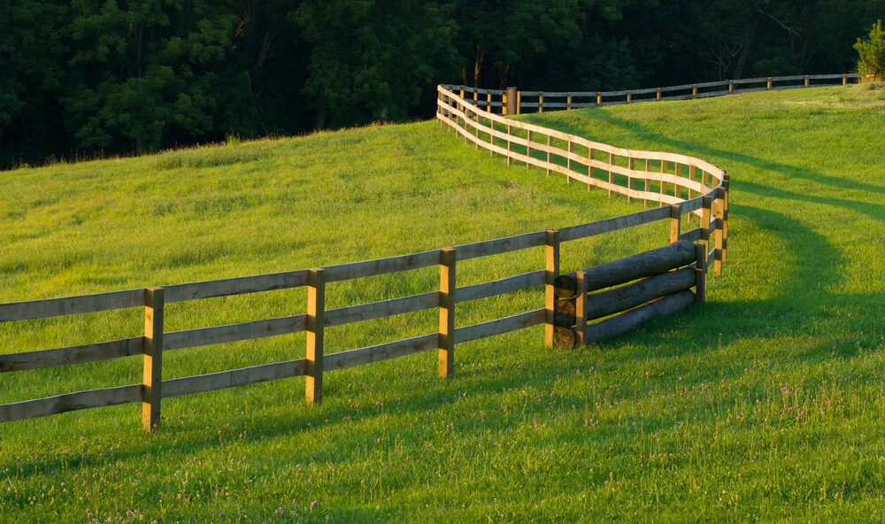 Farm fencing can span for miles and are commonly made with 4x4 posts and long wooden planks.