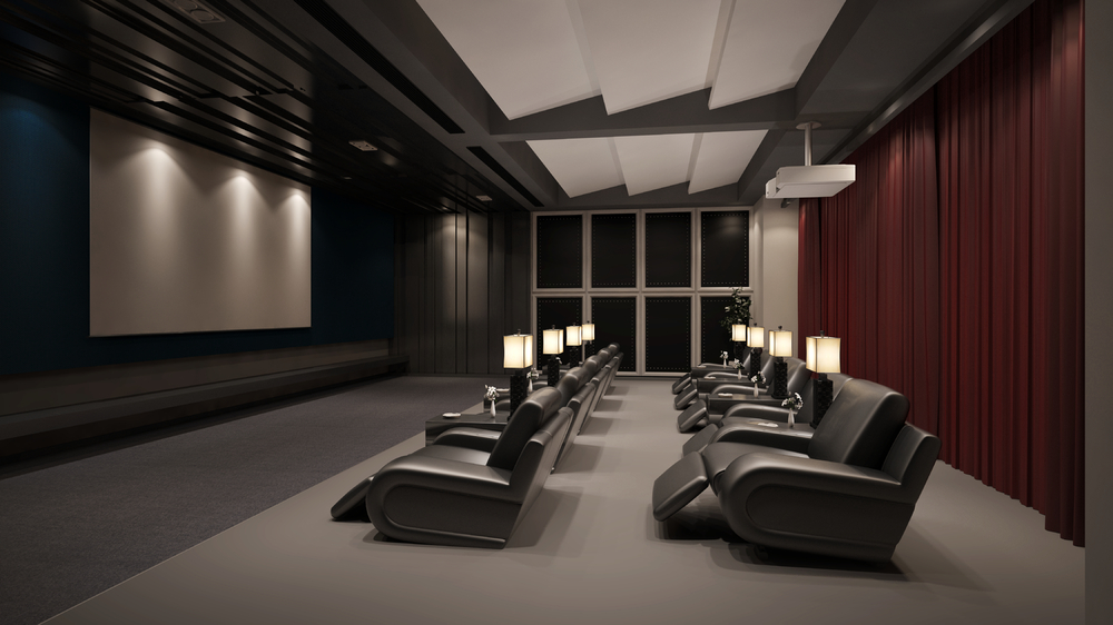 This is a high class and super elegant room with recliners for each person and individual lamps. You also get a large screen and a great curtain in the back. Plus the entire room is designed to be soundproof.