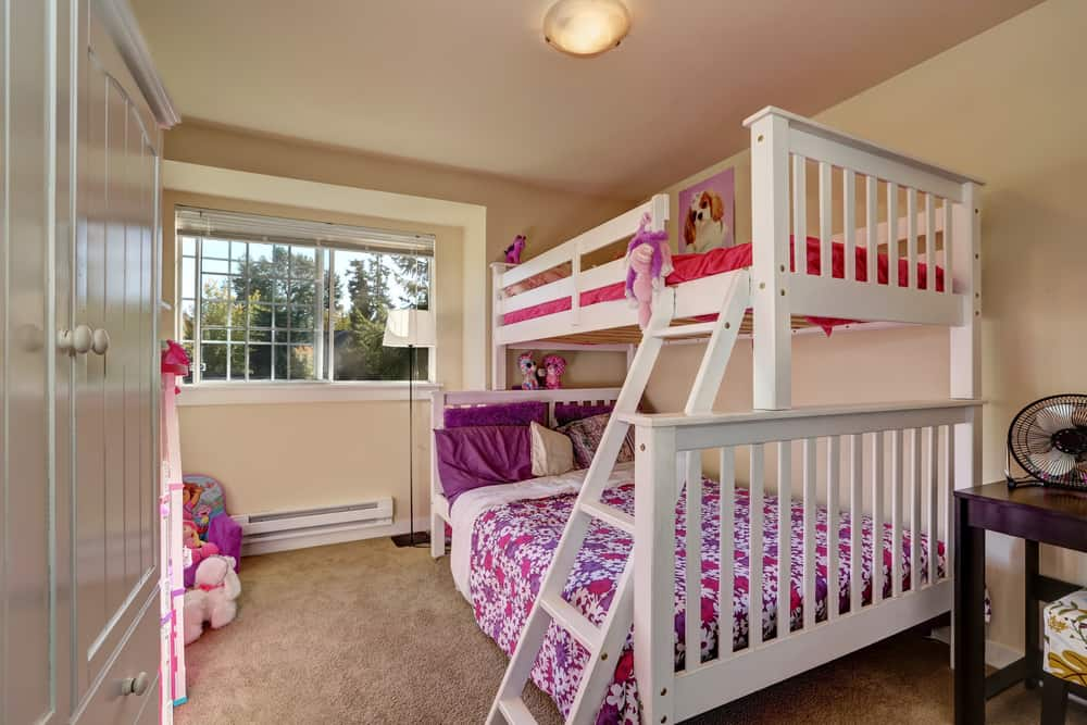 A white bunk bed set.
