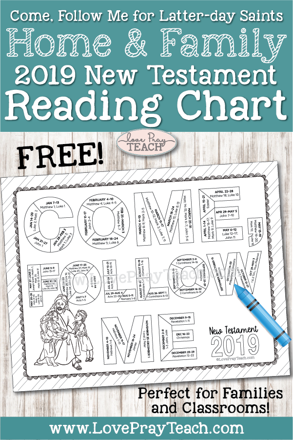 FREE 2019 New Testament Scripture Reading Chart for Latter-day Saints on www.LovePrayTeach.com