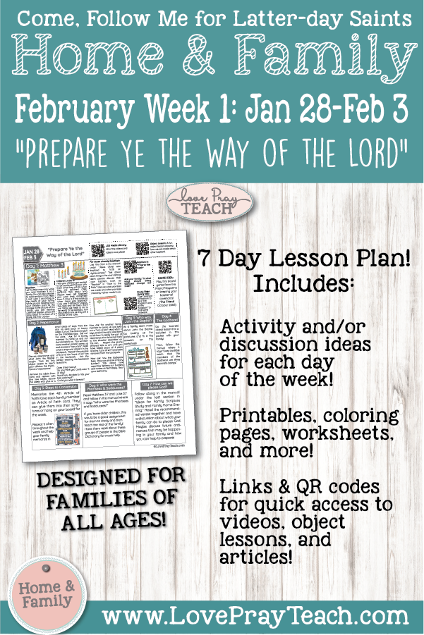 February Week 1 Home Family Printable Lesson Packet For Come