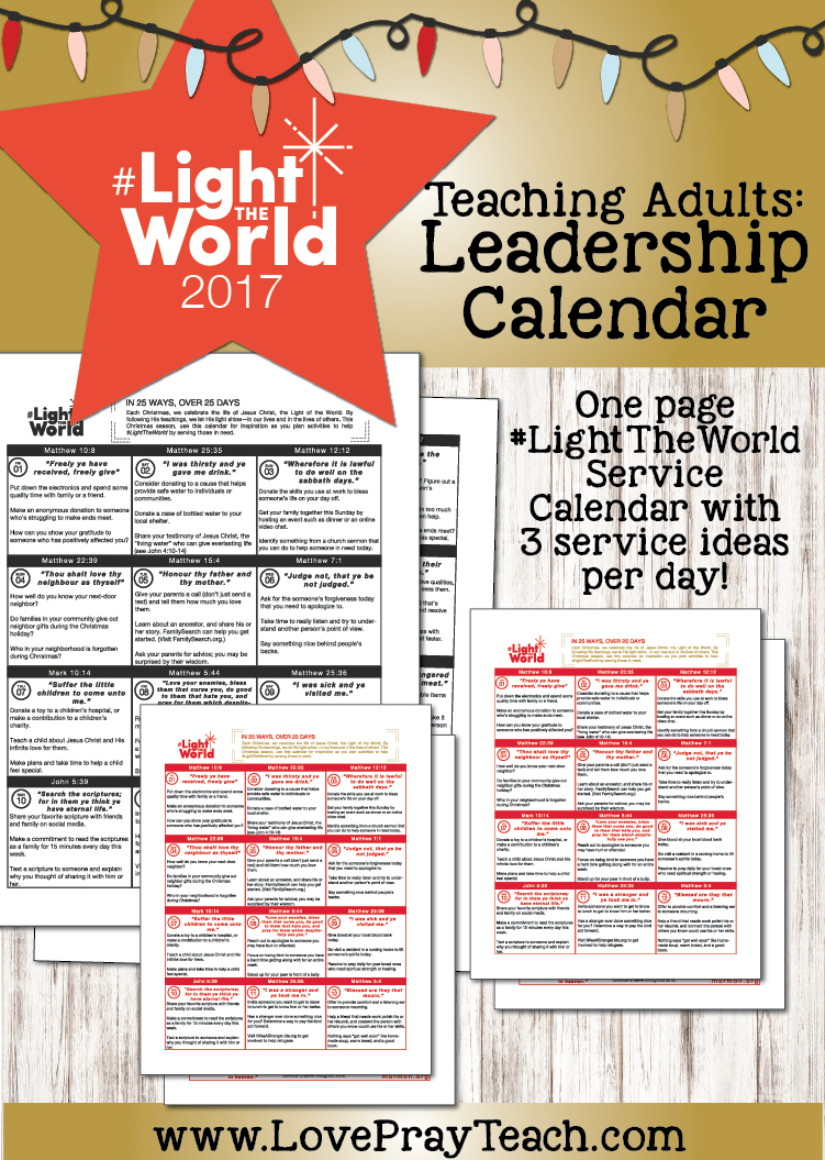 2017 #LightTheWorld Printable Calendar for adults and leaders