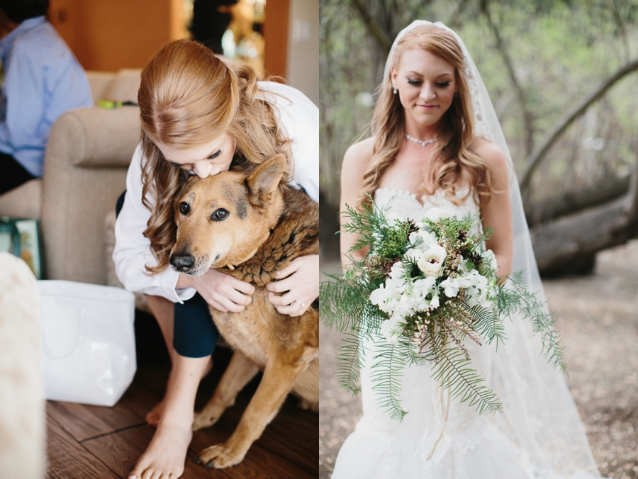 bride with dog, bride in strapless lace gown with white and green bouquet