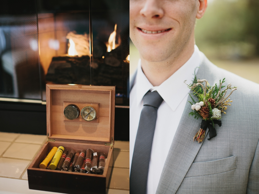 cigars, groom in grey with white and green boutonniere