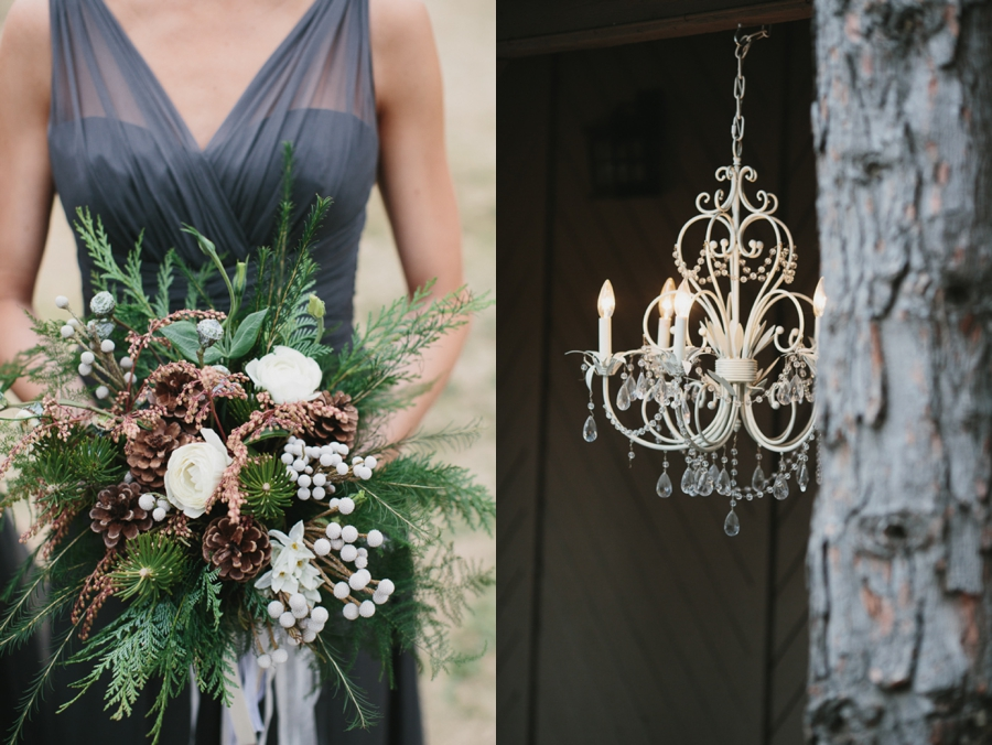 dark grey bridesmaid gown, bridesmaid bouquet evergreen pinecone and white flowers