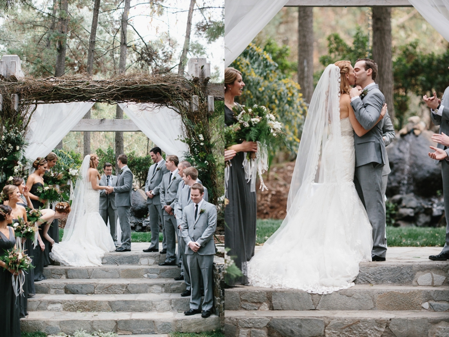 outdoor ceremony, bride in white lace strapless gown, groom in grey suit