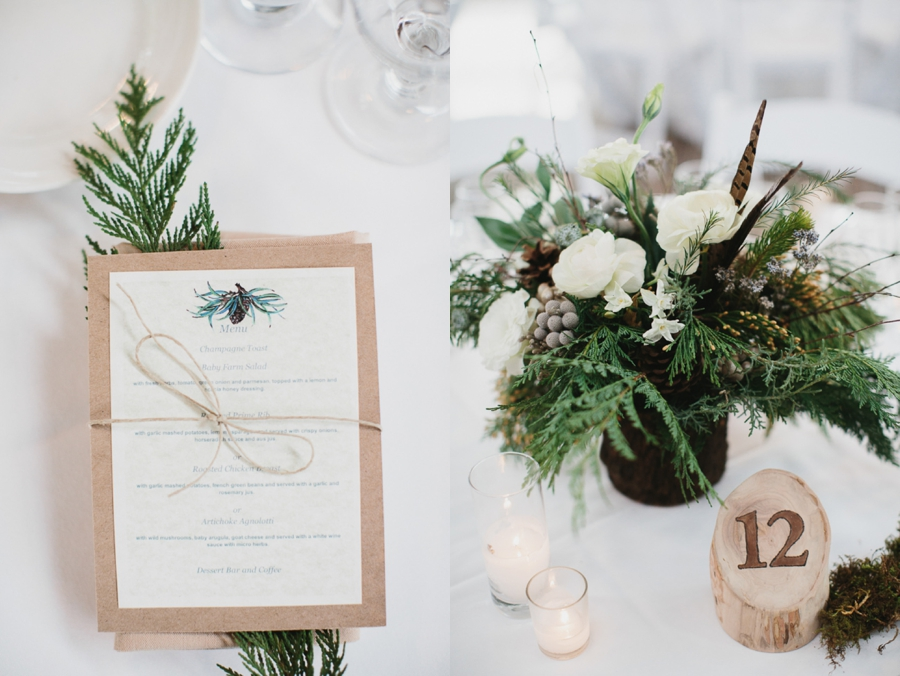 evergreen accents with kraft paper and twine menus, reception centerpieces evergreen white and pinecone, wooden log table numbers