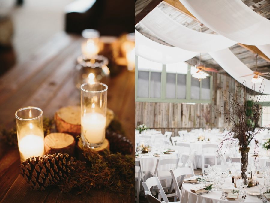 pinecones and candles, indoor reception white linens