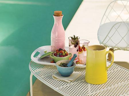 Hibiscus set on pool-side table
