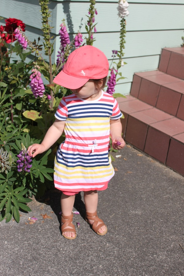 d8140adcdbe Coral ball cap  H M   Striped dress  H M   Coral shorts  Old Navy   Gladiator  sandals  Joe