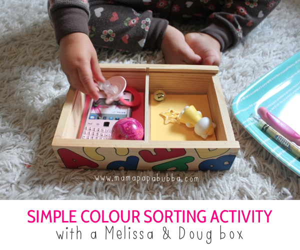 Simple Colour Sorting Activity with a Melissa & Doug Box | Mama.Papa.Bubba.