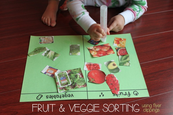 Fruit  Veggie Sorting Using Flyer Clippings | Mama Papa Bubba