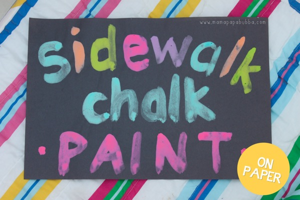 Sidewalk Chalk Paint on Paper | Mama Papa Bubba