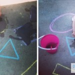 Simple Outdoor Fun: Painting Sidewalk Chalk Shapes With Water