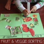 Fruit & Veggie Sorting {Using Flyer Clippings}