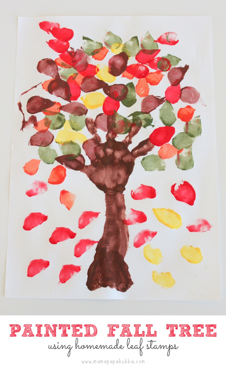 Painted Fall Tree Using Homemade Leaf Stamps | Mama Papa Bubba
