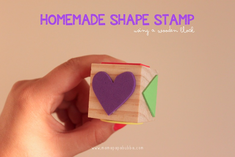 Homemade Shape Stamp Using a Wooden Block | Mama Papa Bubba