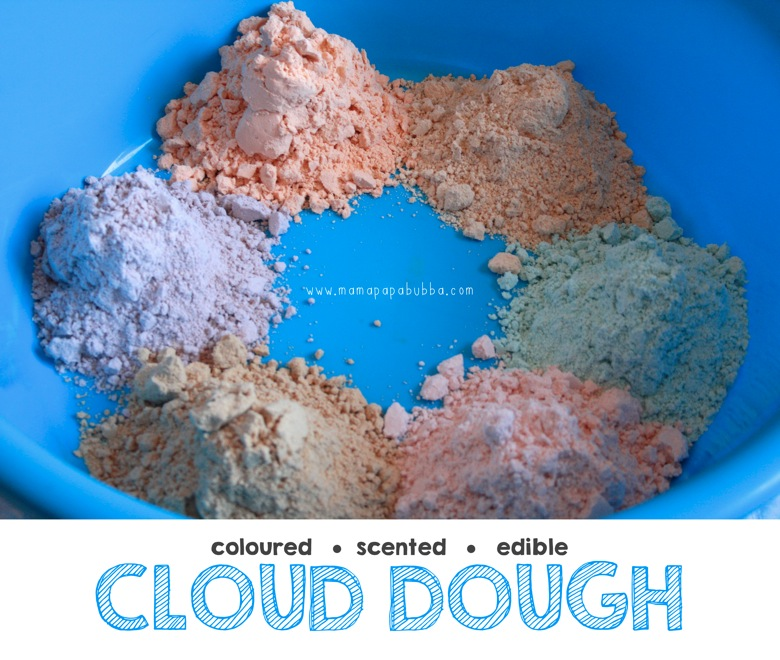 Coloured Scented Edible Cloud Dough | Mama Papa Bubba